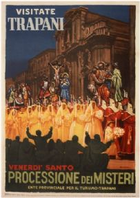 Vintage Travel Poster Trapani Italy